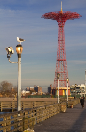 amusment: View of the coney island spire from the board walk