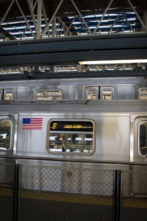 gritty: Line F of the New York subway at their last stop Editorial