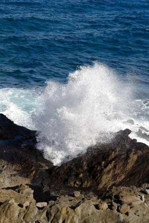 blowhole: close up of the Halona blowhole pushing out water Stock Photo