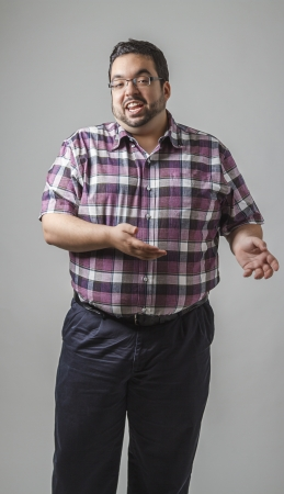 Man right in the middle of a speech Stock Photo