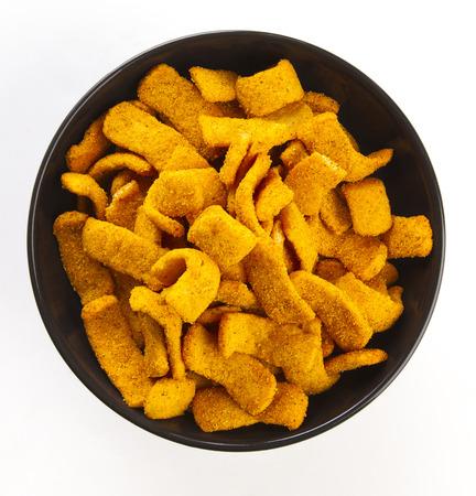 corn chip: bbq flavored corn chip in a black bowl