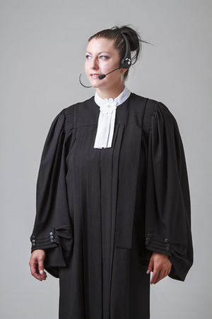 Woman lawyer with a headset