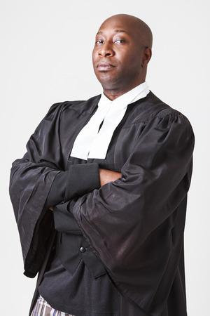 toga: calvas hombres negros en su cuarenta con toga abogado canadiense Foto de archivo