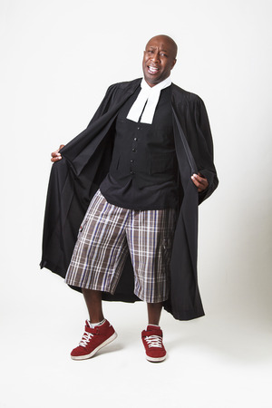 toga: bald black man in short and sneaker, wearing a canadian lawyer toga wide open