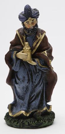 balthazar: vintage figure of the christmas nativity scene, Balthazar Stock Photo