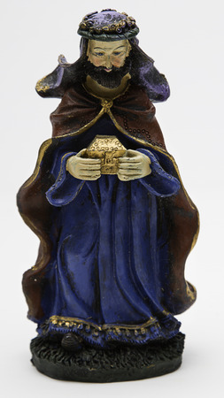 gaspar: vintage figure of the christmas nativity scene, Gaspar the wise king Stock Photo