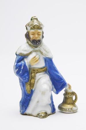 balthazar: vintage figure of the christmas nativity scene, Balthazar the wise king