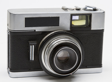 point and shoot: close up of an old point and shoot camera Stock Photo
