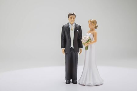 Groom and bride cake topper on a white background