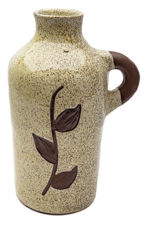 Glazed ceramic jug with leaf pattern