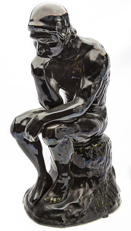 Glossy ceramic statue of the thinker