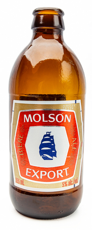 Old Molson Export beer bottle isolated against white background