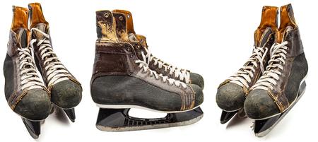 Old leather hockey skate isolated on white background