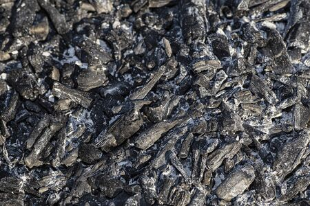 texture of wood charcoal turn to ash