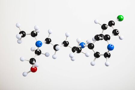 physical molecule of a Hydroxychloroquine against a white background Standard-Bild