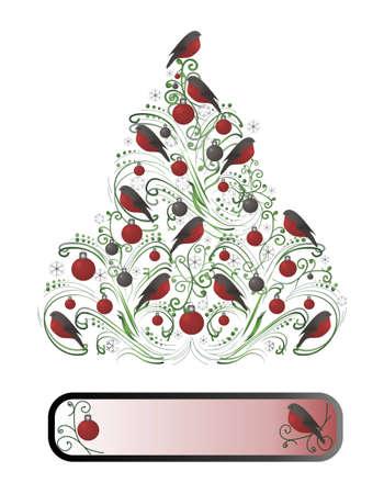 bullfinch: Christmas tree decorated bullfinch and red balls.