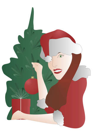 santa suit: Girl Santa decorate a Christmas tree. Girl in a Santa suit hanging on the tree a red ball. Green Tree, a red gift.