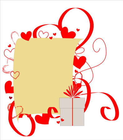 Sheet of paper framed with red hearts and ribbons Stock Vector - 8579545