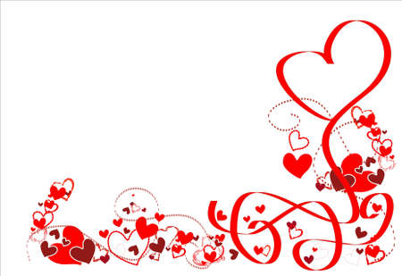romantic background: Romantic frame with red hearts and ribbons.