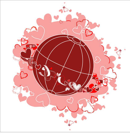 Planet of love. Planet earth surrounded by a ring of hearts and ribbons in a pink cloud of hearts. Stock Vector - 8601094