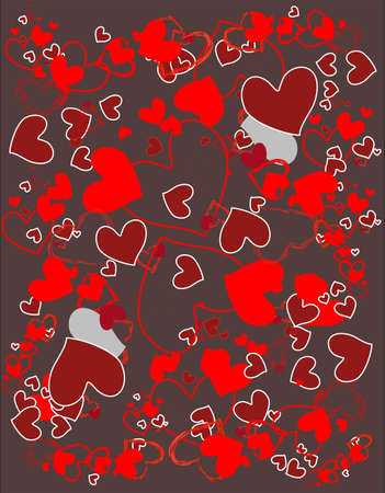 Romantic background of hearts in red and burgundy colors.  Vector
