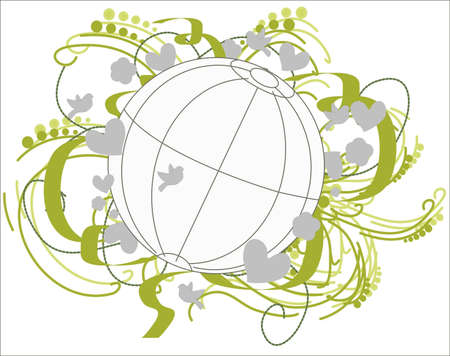 fertile: Fertile Environment Globe. The globe is surrounded by flowers, ribbons, hearts, leaves, birds in the green-gray..