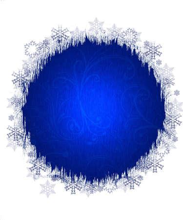 iceflower: Bianco e blu Natale sfondo invernale con fiocchi di neve e ornamenti.