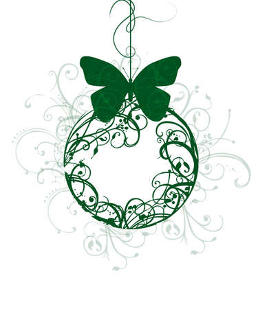 Christmas ball with a green floral ornaments and the Butterfly. Ecological, harvest.
