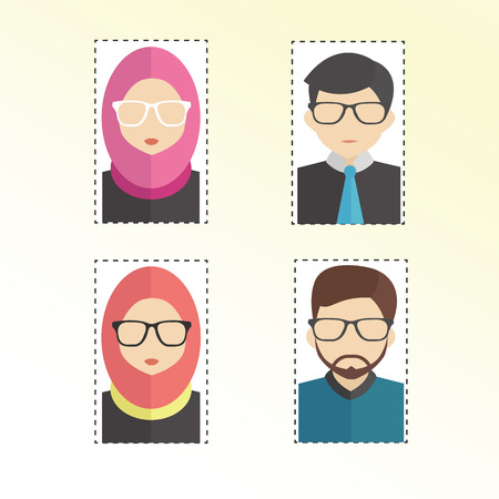 Vector illustration of profile photo character of woman and man.
