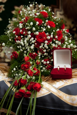 Bouquet and wedding rings