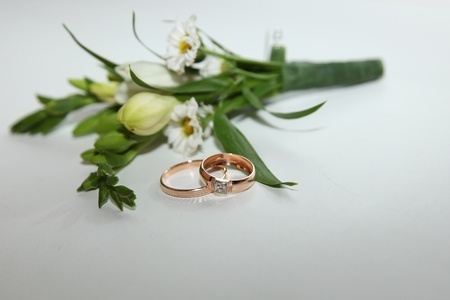 Wedding buttonhole and rings