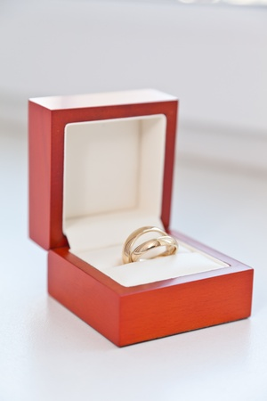 Wedding rings in a red box photo