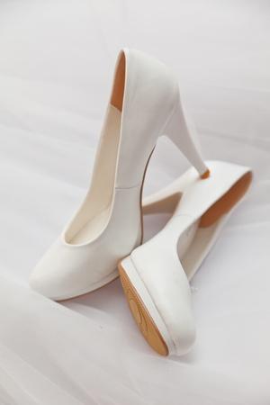 White shoes on a white background Archivio Fotografico