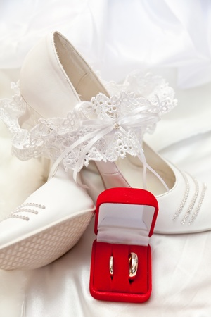 Wedding footwear, garter and wedding rings photo