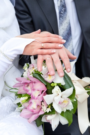 Hands of the groom and the bride with wedding rings on a wedding bouquet Stock Photo - 11688841