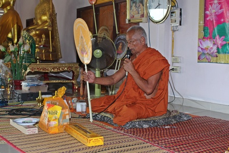 NONGKHAI, THAILAND – AUGUST 10, 2018:  Buddhist monk is preaching to people,  be the substance about doing goodness always,  see him at WAT PA THAMMA WIWEK in NONGKHAI province.