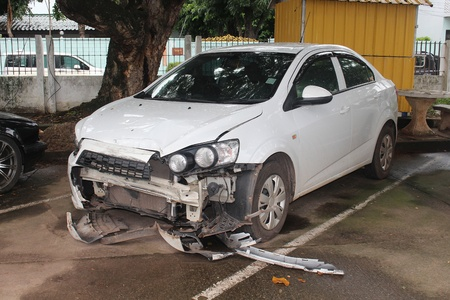 UDONTHANI, THAILAND – AUGUST 27, 2018 :  The state of a decayed car that be inoperable thing,  after it had accident on road,  see it at the police station in UDONTHANI province THAILAND.