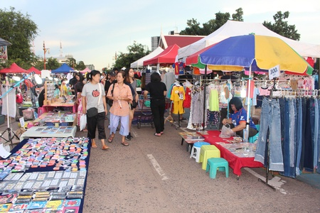 UDONTHANI, THAILAND – SEPTEMBER 12, 2018 :  The temporary market,  serve for buy goods between 17.00-22.00 oclock on Friday and Saturday every week,  at UDONTHANI province THAILAND.