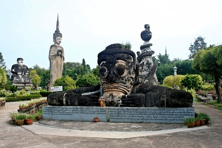 NONG KHAI, THAILAND – NOVEMBER 18, 2018:  The big figure that pertains to Buddhism and Brahman,  in area of SALA KAEO KOO park,  at NONG KHAI province THAILAND.