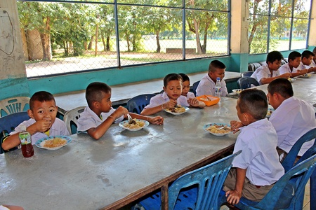 UDONTHANI, THAILAND – DECEMBER 14, 2018:  Lunch time,  Thai students are enjoy in lunch time at their school,  see them at BAN HUA KUA MUEAD AE school.