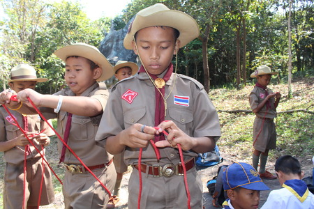 UDONTHANI, THAILAND – DECEMBER 25, 2018 : Boy-scout, primary scout activity,  while they stay the scout camp at PHU FOI LOM national park in UDONTHANI province THAILAND.