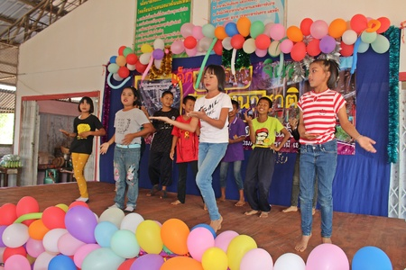 UDONTHANI, THAILAND – JANUARY 12, 2019:  Children's Day in Thailand,  Thai students are showing the activity on stage,  they very enjoy together at NONG WANG NON KHI LEK school. Redakční