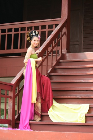 UDONTHANI, THAILAND – DECEMBER 30, 2018:  One woman in THAI RETRO DRESS is posing for a photograph,  see her at UDONTHANI province THAILAND. Editorial