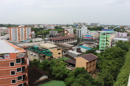 UDONTHANI, THAILAND – OCTOBER 14, 2019:  City community photograph,  be photograph of UDONTHANI province,  show that densely buildings state. Редакционное