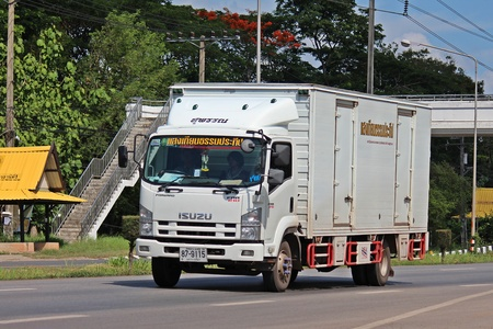 UDONTHANI, THAILAND – OCTOBER 9, 2019:  TRUCK,  a truck is running on highway,  in UDONTHANI province THAILAND.