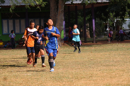 UDONTHANI, THAILAND – SEPTEMBER 4, 2019: Thai students are warming up for their body before they will play the sport, see them at BAN NONG WANG NON KHI LEK school. Editorial