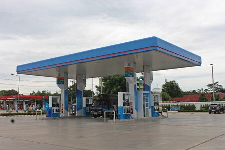 UDONTHANI, THAILAND – JANUARY 4, 2020:  This picture is oil station,  see at UDONTHANI province and see general one in THAILAND. Reklamní fotografie - 137282783