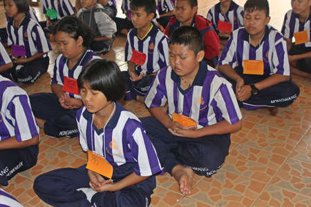 UDONTHANI, THAILAND – MARCH 6, 2020:  Students are training the concentration,  be morality of Buddhism,  they do while stay in moral camp.