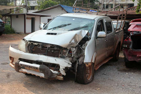 UDONTHANI, THAILAND – MARCH 13, 2020 : This car destroys until can't be usable after has accident on road, see one at the police station in UDONTHANI province THAILAND.