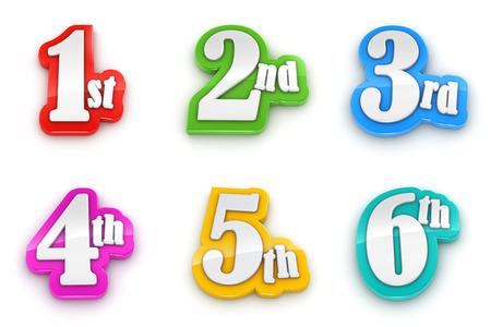 Primera segunda tercera cuarta quinta sexta números aislados sobre fondo blanco con trazado de recorte